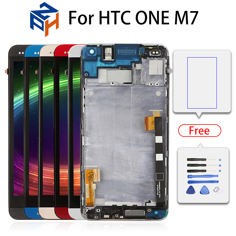 801e Single SIM Frame for HTC One M7 LCD Display Touch Screen Digitizer Assembly For HTC One M7 Display HTC M7 lcd replacement