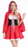 free shipping real photo New style halloween sexy fancy dress little red riding hood costume for adult party dress size s 3xl
