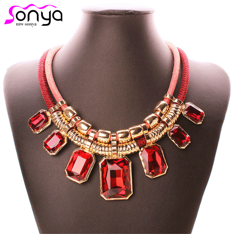 Exaggerated  Pendants Chokers Colorful Chain Double Layers Big Rhinestone Torques Statement Women Necklace 3L5009
