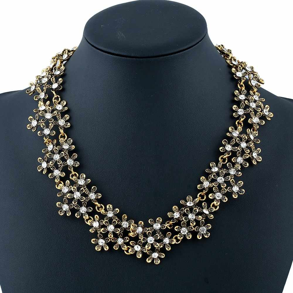 Vintage Alloy Flower Collar Necklace Metallic Rhinestone Alloy Floral Maxi Colar Necklace Collier Femme Bijoux Great Gift