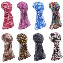 New Silky Print Durag Silk Mens Durags Women Headwrap Polyester Turban
