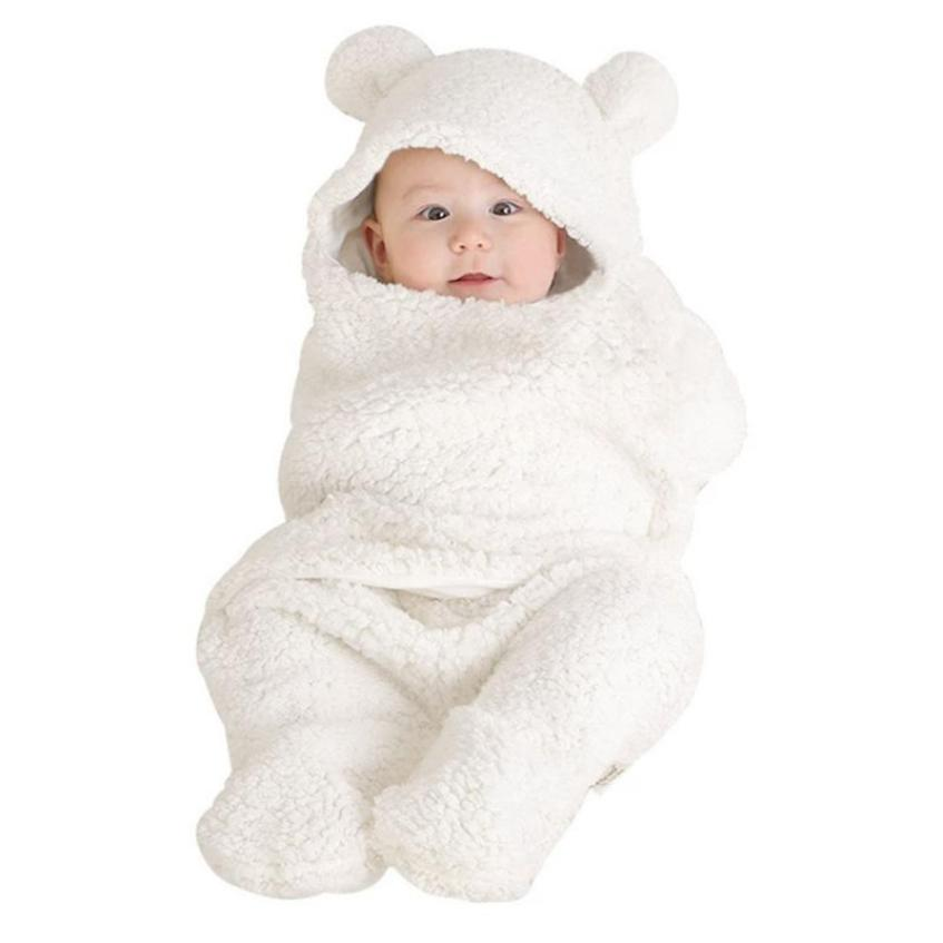 White Pink Newborn Infant Baby Boy Girl Swaddle Baby