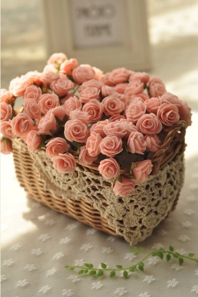 Artificial flowers pink mini rose flower basket set artificial artificial flowers pink mini rose flower basket set artificial flower artificial plants bonsai home in artificial dried flowers from home garden on mightylinksfo