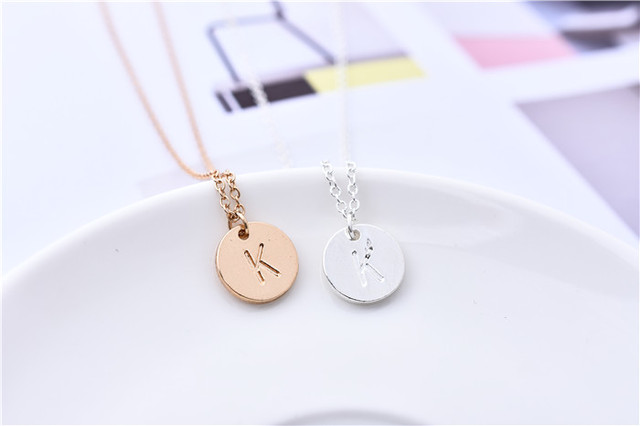 1pc Round Initial Letter K Necklace Simple Engraved Alphabet K Pendant  Necklace Coin Disk Jewelry Gift for Couple