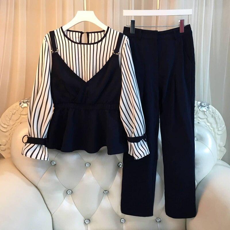 Spring Autumn Korean Women Tracksuit Female Striped Patchwork Tops + Pants Two Piece Set Lady Plus Size 4XL Suit Clothes F192
