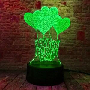 Image 3 - Novo feliz aniversário amor coração balões 3d visual led rgb noite lâmpada de mesa ilusão humor escurecimento 7 cores incrível