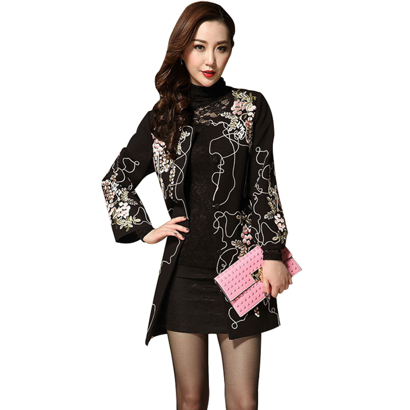 Womens Beautiful Coat Ladies Embroider Jacquard Coats Flowers Pattern Tweed Large Plus Big Size Slim Long