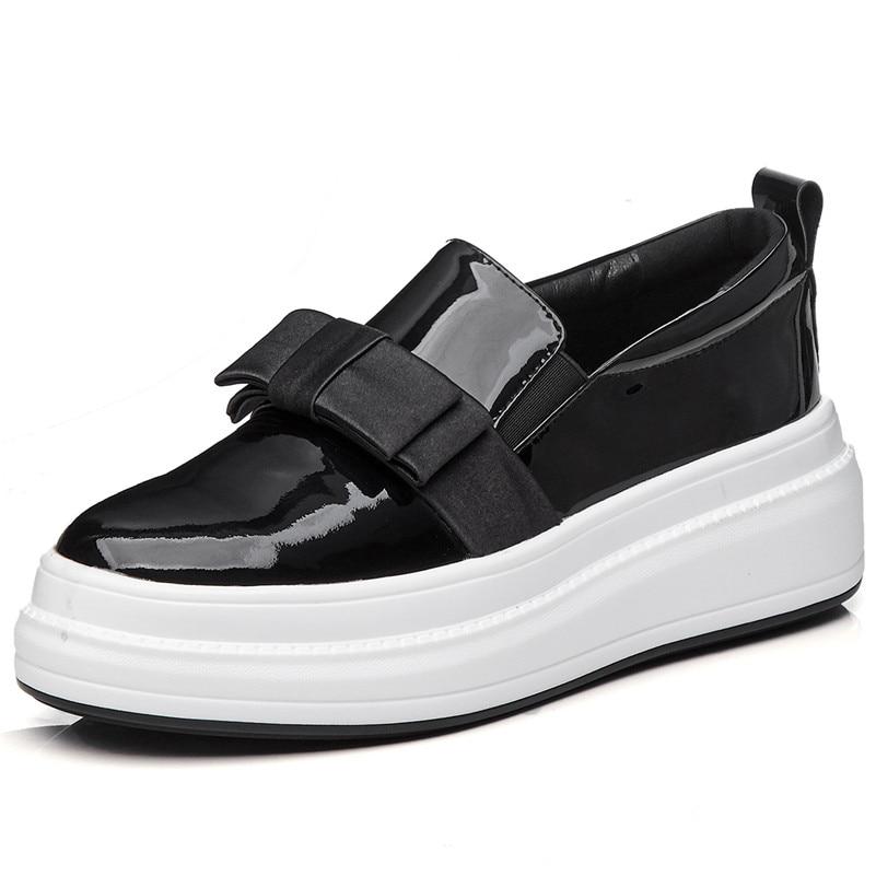 985fbbbc Plataformas Mujer Bowtie En De Cuero Redonda Zapatos Resbalón Fedonas  Casuales Planos Genuino Moda Negro Mujeres Pisos ...