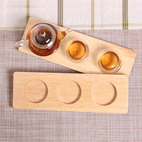 Rubber Wood Cup Coasters Creative 3 Round Holes Beer/Coffee Holders Serving Trays Wooden Heat Resistant Pad Tea Accessories