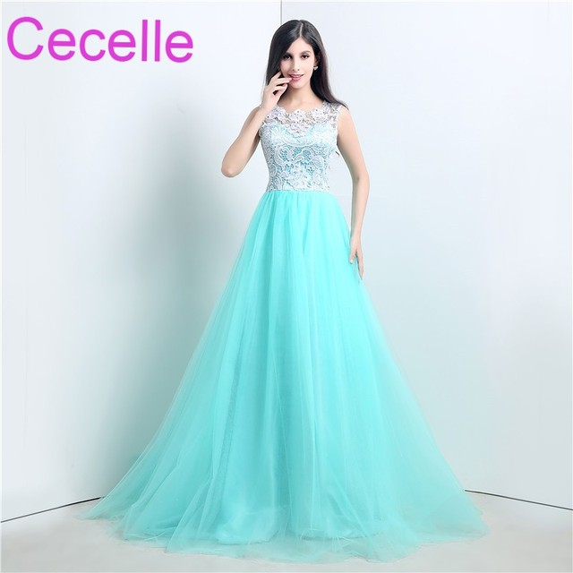 d9a63b7195a Mint Long Prom Dresses 2019 Sleeveless Simple Lace Tulle A-line Teens Girls Formal  Prom Dress Party Gowns Button Custom Made
