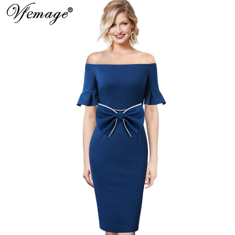 Vfemage Womens Sexy Elegant Off Shoulder Ruffle Flare Bell Mouwen Riem Boog Cocktail Party Ingericht Bodycon Potlood Schede Jurk 369