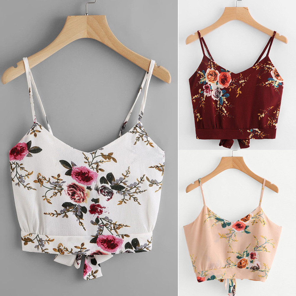 Elegant design women's self tie back v neck floral print crop cami camisole casual polyester broadcloth girls tees #31945