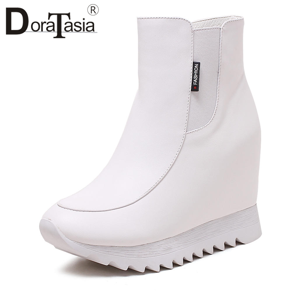 DORATASIA High Quality Genuine Leather Ankle Booties Women Autumn Winter Addible Plush Height Increasing Shoes Woman 32-40DORATASIA High Quality Genuine Leather Ankle Booties Women Autumn Winter Addible Plush Height Increasing Shoes Woman 32-40