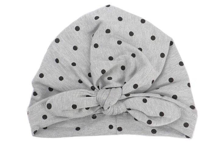 a5a9b5a110a Hot 1 pcs newborn dots baby hat fashion Bohemia Style Solid Color Rabbit  Ear skullies cotton baby turban India hat with bow -in Hats   Caps from  Mother ...