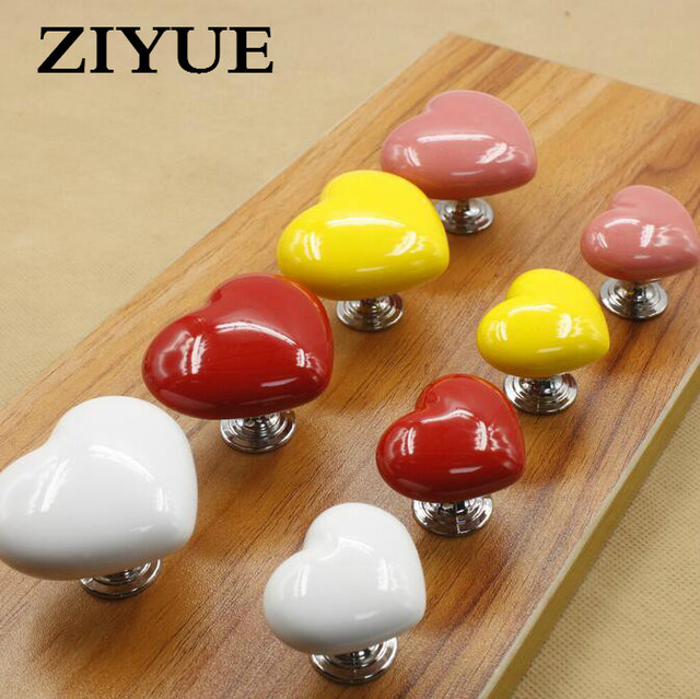 2pc Free shipping Heart Ceramic Drawer Knobs and Handles Children ...