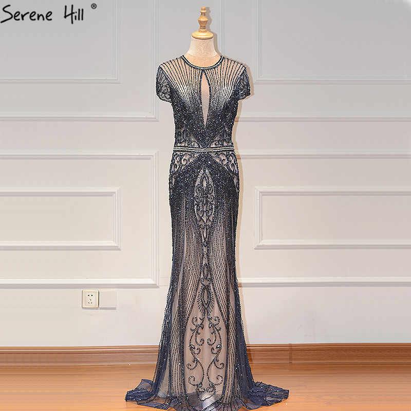 IN STOCK Navy Blue Sleeveless Luxury Evening Dresses Full Diamond Sexy Evening Gowns 2019 Serene Hill Plus Size LA60742