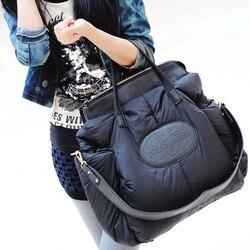 De moda de algodón de espacio material Paquete Grande chaqueta bolso de gran capacidad de invierno de las señoras bolso de hombro sac principal bayan canta