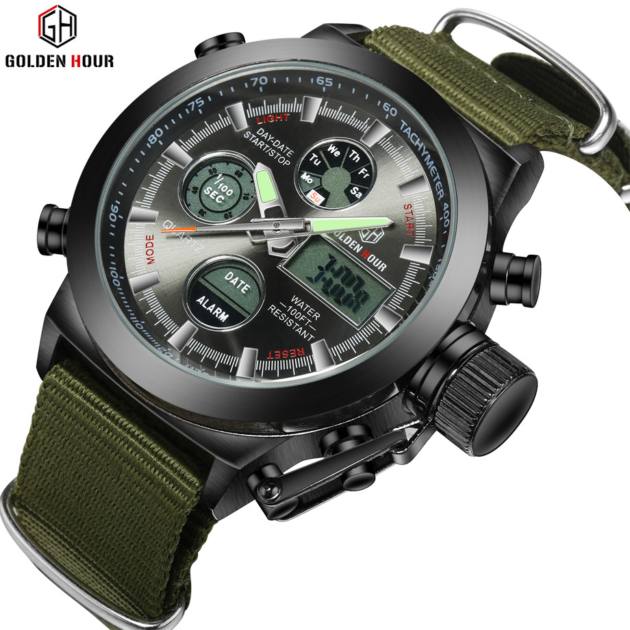 GOLDENHOUR Shock Resistant Men's Quartz Digital Sports Watch Nylon LED Military Auto Date Waterproof Stopwatch Watches
