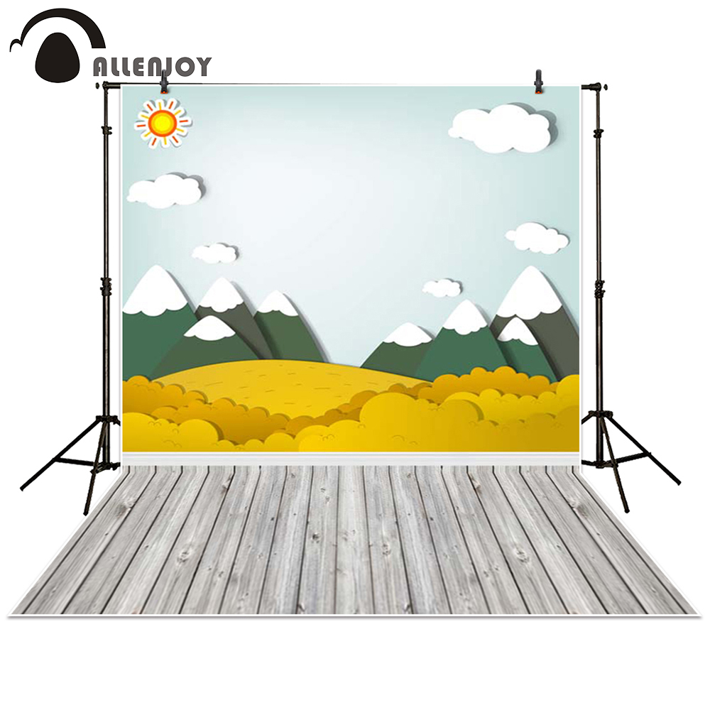 Allenjoy photography backdrop Sun Wood Mountain Cloud Paper baby shower children background photo studio photocall allenjoy vinyl photo studio background wooden river landscape stone backdrop picture children s photocall