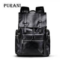 PURANI Brand Backpack Men External USB Charge Antitheft School Bag PU Leather Travel Bag Casual Bagpack Notebook Laptop Rucksack