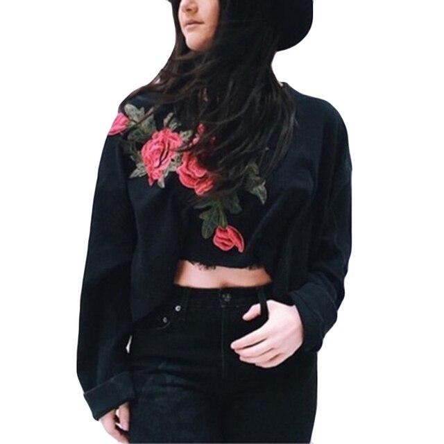 dca14f3390a191 Rose Drukuj Przycięte Swetry Kobiety Bluza Jesień Czarne Krótkie Bluzy  Niebieski Sweterek Z Długim Rękawem Crop