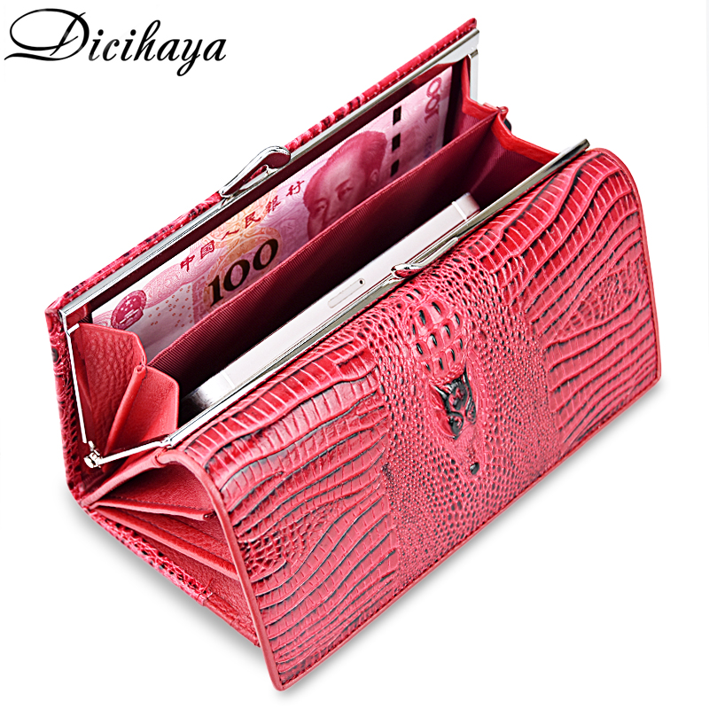 DICIHAYA Genuine Leather Women Wallet Luxury Brand Design High Quality Women Long Purse Card Holder Alligator Clutch wallets 2017 woman wallets luxury design high quality genuine leather famous brand card holder men long wallet purse clutch