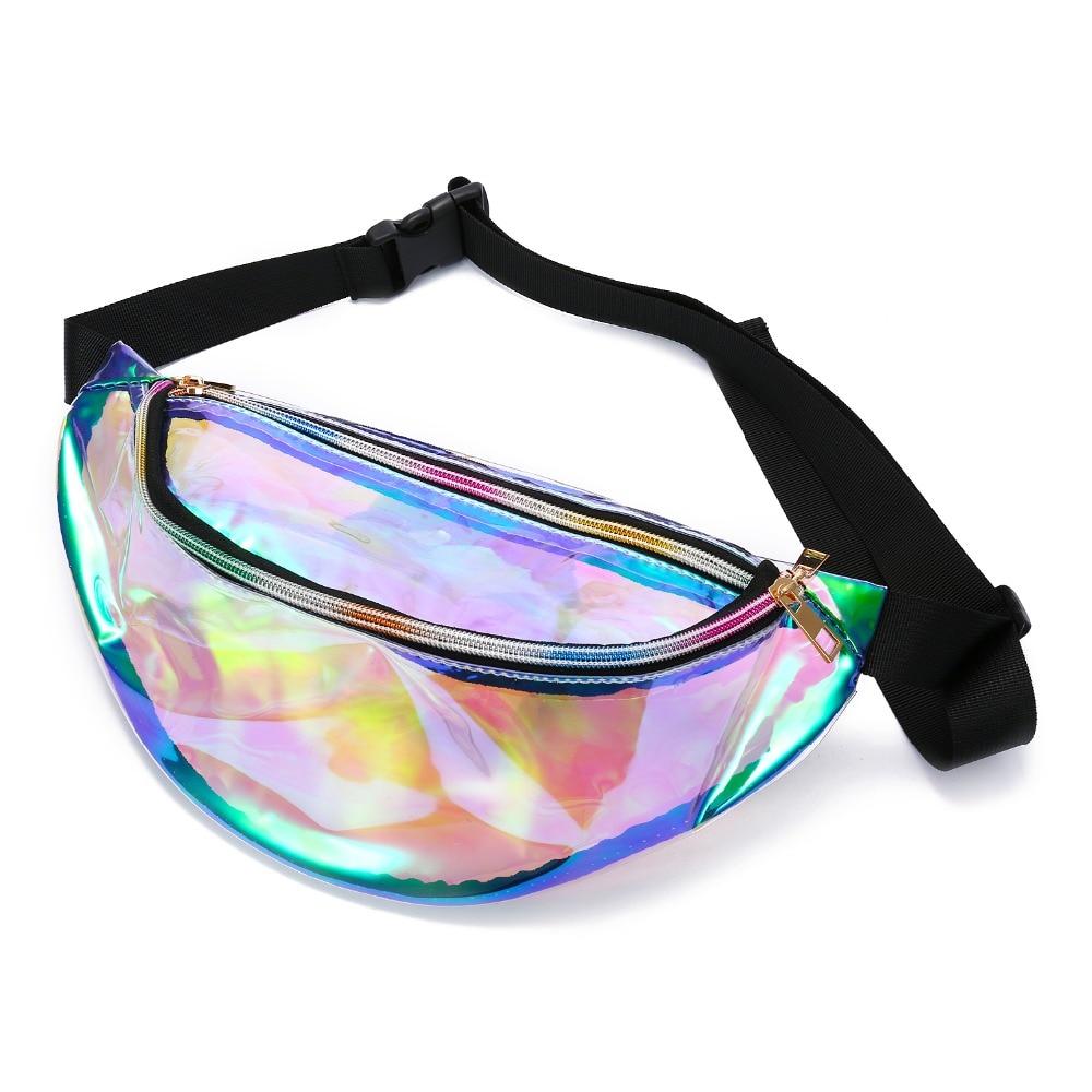 Fashion Women Laser Fanny Waist Pack Crossbody Bag Unisex Waist Belt Bag PU Hologram Travelling Cashier Mobile Phone Handbags