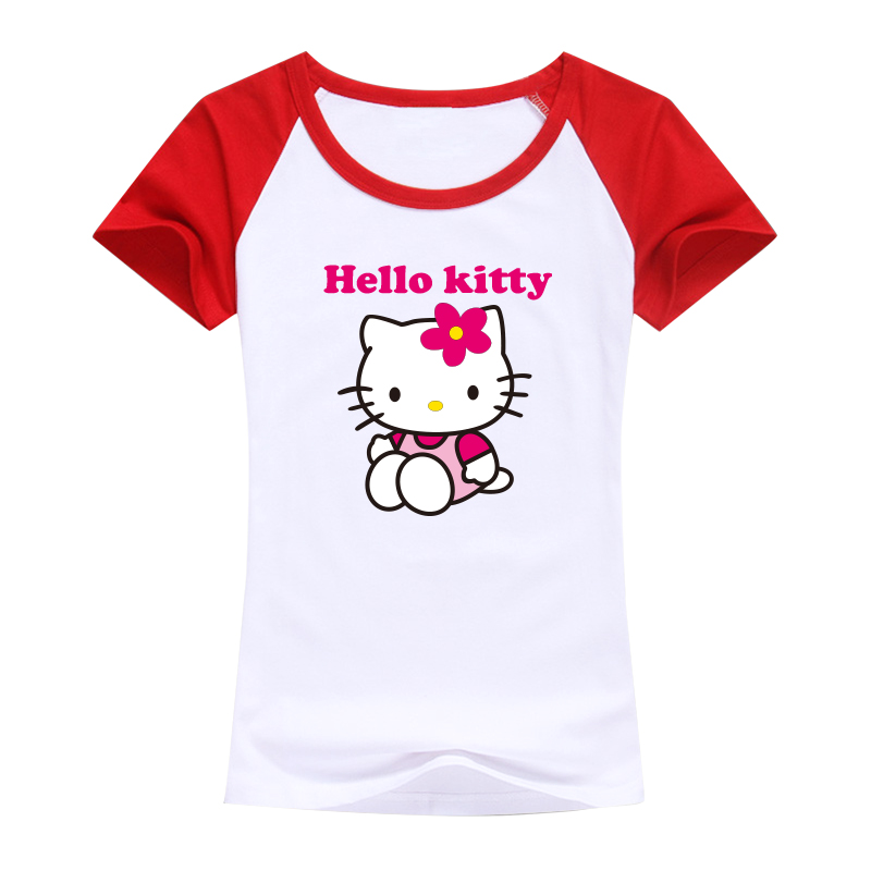 2016 sweet designed tops tees Hello Kitty image women t shirt harajuku kawaii good quality women brand clothing for girls