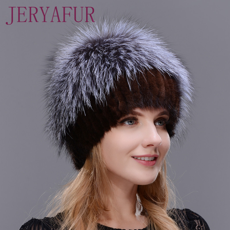 2017 brand new female mink fur hat women winter hat knitted mink fox fur cap female warm hat cap Silver Fox Part More new style winter hat real female mink fur hat for women knitted mink fox fur cap female ear warm hat cap silver fox part less