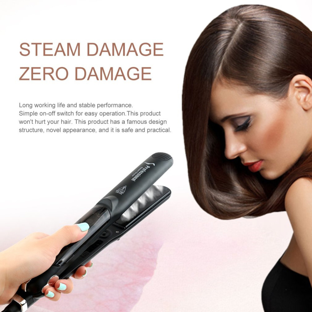Professional Dual Use Ceramic Vapor Steam Hair Straightener Salon Personal Use Hair Styling Tool Straightener professional electric hair straightener plat iron anion steaming dry wet use hair straightner curler styling tool