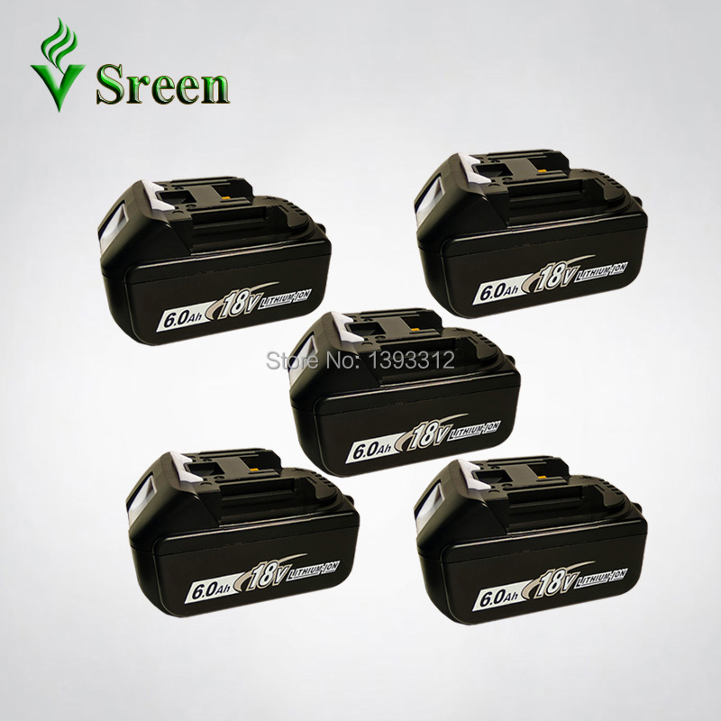 5PCS 18V Lithium Ion 6000mAh BL1860 Replacement for Makita 18V BL1840 BL1850 BL1830 LXT400 Rechargeable Power Tool Battery Packs dvisi for makita bl1830 power tool battery cordless drill li ion batteries 18v 6000mah for makita bl1840 bl1860 bl1820 bl1850