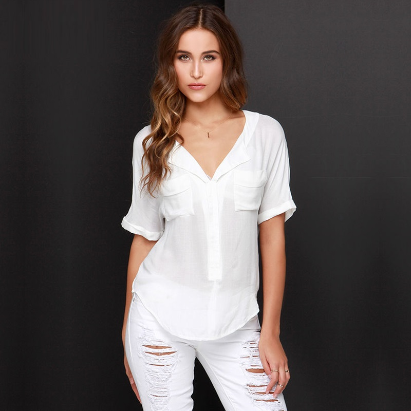 Summer women blouses sexy deep V neck with pocket short sleeve white shirts chiffon casual blouse shirt SB2338