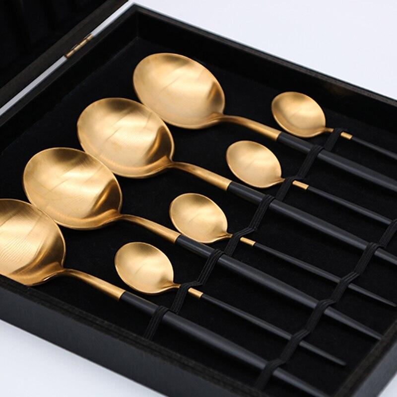 Noble 18/10 juego de vajilla de acero inoxidable de 16 piezas, tenedor, cuchillo, vajilla, juego de cubiertos de oro negro con caja de regalo envío-in Juegos de vajilla from Hogar y Mascotas    3
