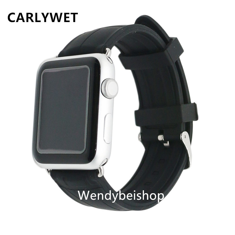 все цены на Black Men Wowen Silicone Rubber Wrist Replacement Watch Band Belt Strap with Adapter Connector For Apple Watch Iwatch 38mm 42mm онлайн