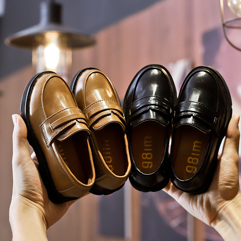 AFDSWG Kids Leather Shoes PU Little Girl Shoes Black Children's Dance Shoes  Brown Kids Moccasins Boys Leather Shoes
