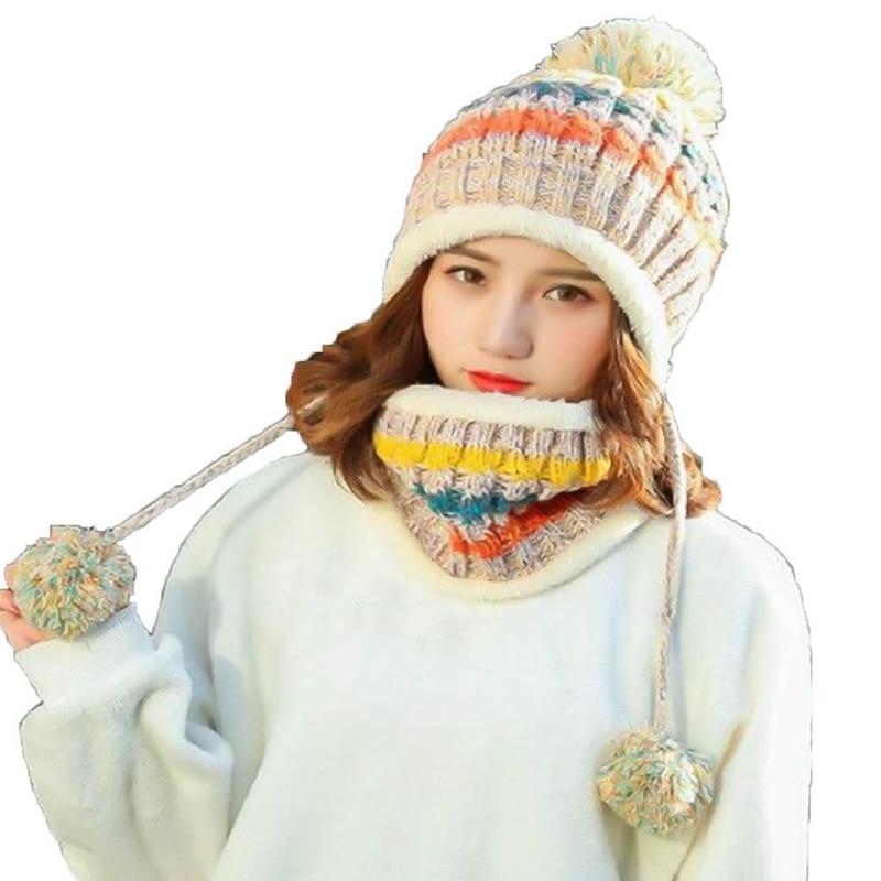 2018  Winter Knitted Hat  Women Scarf Caps Warm Winter Hats For Girls Skullies Beanies