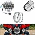 "Luces de la motocicleta de 7 ""LED Daymaker Faro 75 w + 4.5"" Luz auxiliar + 7 pulgadas Anillo de Montaje Para Harley Road King"
