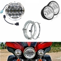 "Motorcycle lights 7"" LED Daymaker Headlight 75w  + 4.5"" Auxiliary Light+ 7 inch Mount Ring For Harley Road King"