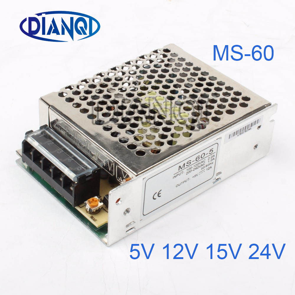 DIANQI Mini Size Switching Power Supply adjustable 12V Output voltage 60W ac to dc regulator for LED strip ms-60 15V 5V 24V free shipping 35w 24v 1 5a single output mini size switching power supply for led strip light ms 35 24