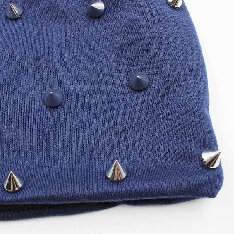 LOVINGSHA Autumn Hats For Women Fashion Hip-hop Winter Girl Skullies Rivets Hoop Design Ladies thin Beanies Men Hat Unisex HT071