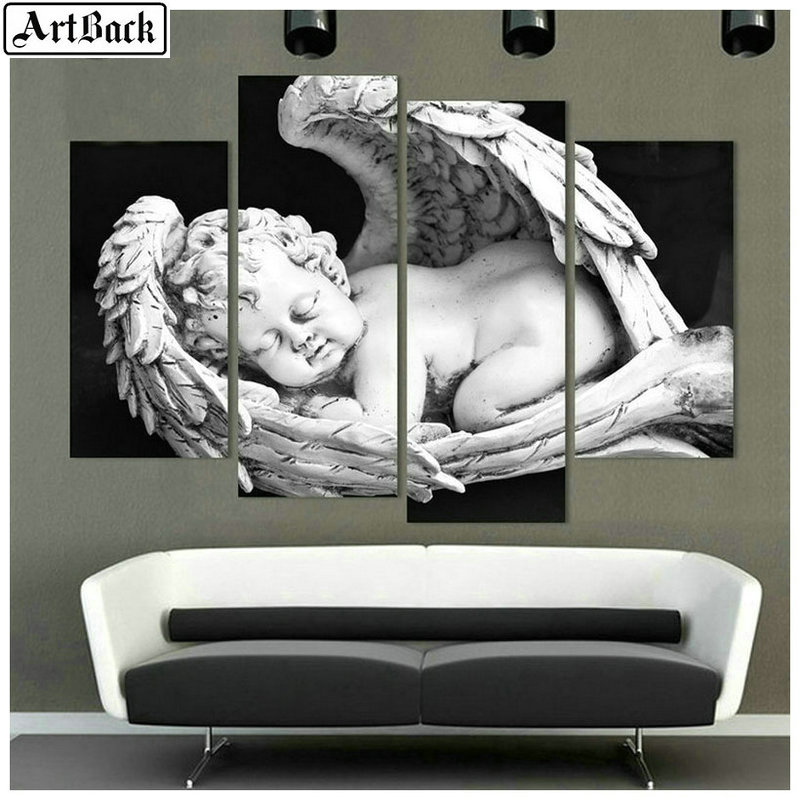 4 spelled diamond painting angel baby wings mosaic full square embroidery 3d wall sticker