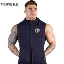 YEMEKEMuscle Sleeveless Hoodie Singlets Sweatshirts Mens Stringer Bodybuilding Fitness Men's Tank Tees Shirts Workout Vest