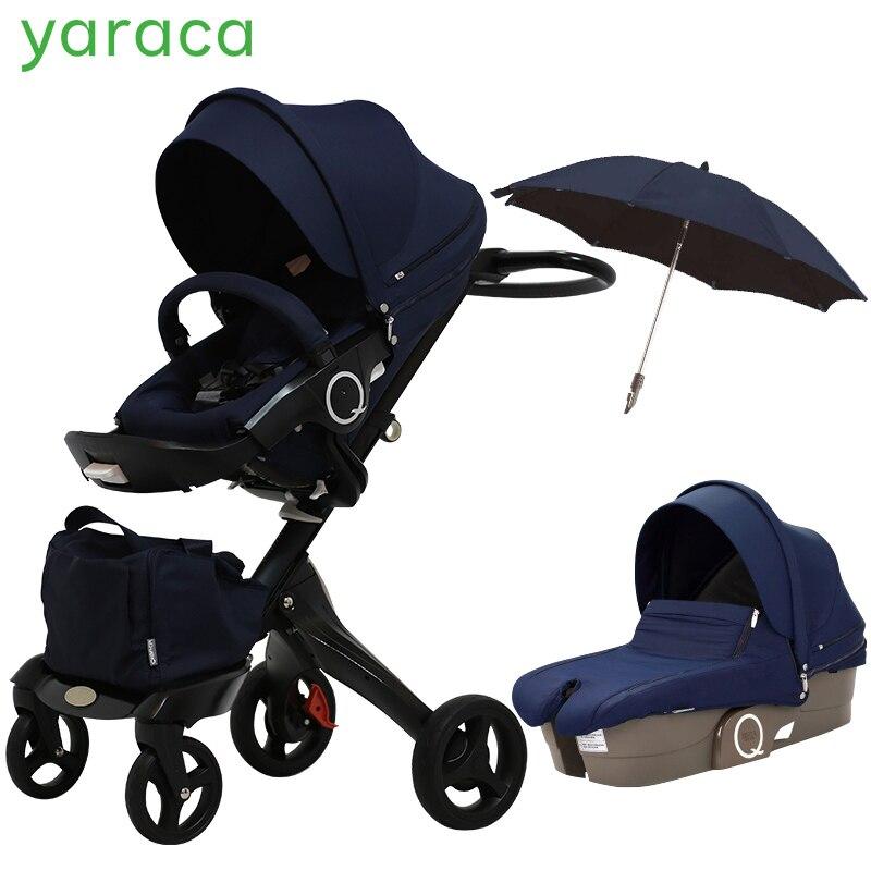 2 dans 1 Bébé Poussette Haute Paysage Pliant Portable Bébé Transport Pour Les Nouveau-nés De Luxe Poussettes Pour Enfants De 0- 3 Ans