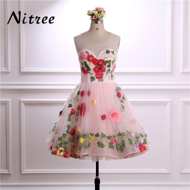 Pretty Colorful 3D Flowers Leaf Pink Short Prom Dresses for Girls ...