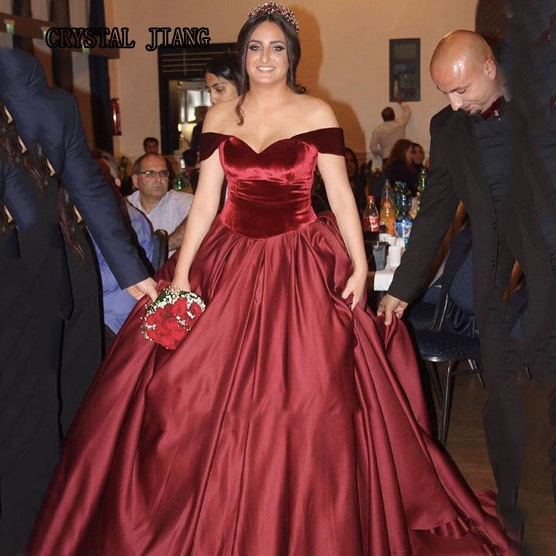 Burgundy Ball Gown Wedding Dresses 2017 Satin Velvet Off the ...
