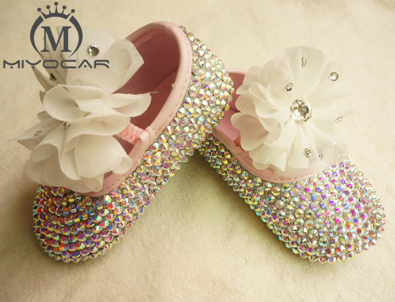 MIYOCAR custom Stunning colorful rhinestone crystal Baby Girl children shoes Bling Diamond first Walker lace flower