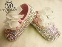 MIYOCAR custom Stunning colorful rhinestone crystal Baby Girl children shoes Bling Diamond first Walker lace flower