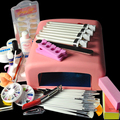 Clear + Pink + White Nail Gel 36W UV GEL Pink Lamp Nail Art Tool Kit Set