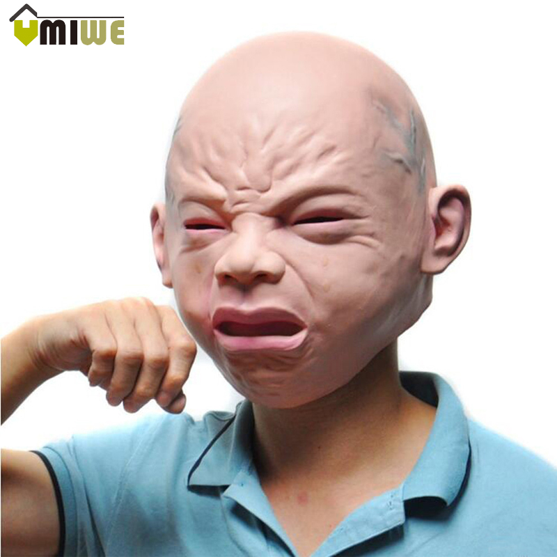 Popular Crying Baby Latex Head Face Mask Adults Funny Halloween Mask