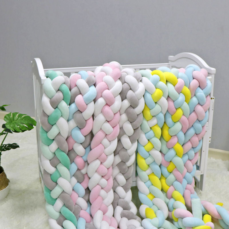 2M3M 4 Knot Soft Baby Bed Bumper Crib Sides 4 Braid 2 Meter Newborn Crib Pad Protection Cot Bumpers Bedding for Infant(China)
